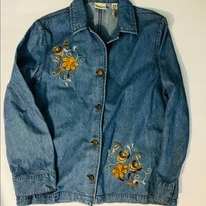 Vintage embroidered button up chambray shirt